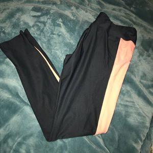 Dark gray and coral leggings